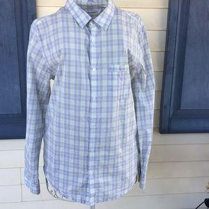 Calvin Klein Green and Blue Button Down Shirt
